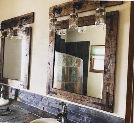 espejo baño madera rustico
